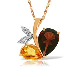 Genuine 5.06 ctw Garnet, Citrine & Diamond Necklace Jewelry 14KT Rose Gold - REF-61H5X