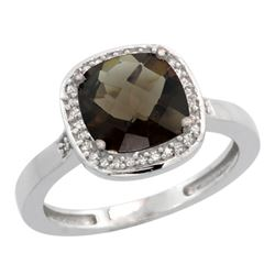 Natural 3.94 ctw Smoky-topaz & Diamond Engagement Ring 10K White Gold - REF-29M2H