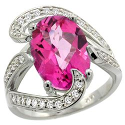 Natural 6.22 ctw pink-topaz & Diamond Engagement Ring 14K White Gold - REF-134N9G