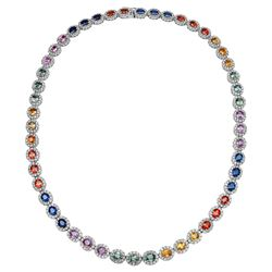 33.92 CTW Multi-Color Sapphire & Diamond Necklace 14K White Gold - REF-664H4M