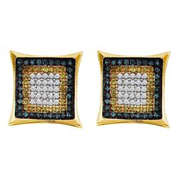 0.33 CTW Mens Yellow Blue Color Diamond Square Cluster Earrings 10KT Yellow Gold - REF-14F9N