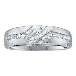 0.12 CTW Mens Diamond 5mm Wedding Anniversary Ring 14KT White Gold - REF-19N4F