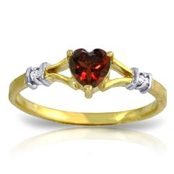 Genuine 0.47 ctw Garnet & Diamond Ring Jewelry 14KT Yellow Gold - REF-27X2M