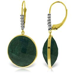 Genuine 46.15 ctw Green Sapphire Corundum & Diamond Earrings Jewelry 14KT Yellow Gold - REF-78V3W