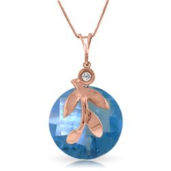 Genuine 5.32 ctw Blue Topaz & Diamond Necklace Jewelry 14KT Rose Gold - REF-23V5W