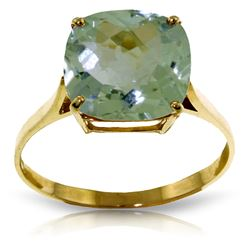 Genuine 3.6 ctw Green Amethyst Ring Jewelry 14KT Yellow Gold - REF-34T7A
