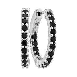 1.84 CTW Natural Black Sapphire Hoop Earrings 14KT White Gold - REF-59K9W