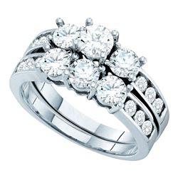 2 CTW Diamond 3-Stone Bridal Engagement Ring 14KT White Gold - REF-269N9F