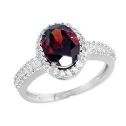 Natural 1.91 ctw Garnet & Diamond Engagement Ring 10K White Gold - REF-32R5Z