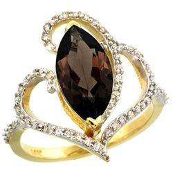 Natural 3.33 ctw Smoky-topaz & Diamond Engagement Ring 14K Yellow Gold - REF-77W5K