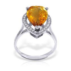 Genuine 3.41 ctw Citrine & Diamond Ring Jewelry 14KT White Gold - REF-75V4W