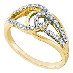 0.25 CTW Diamond Lasso Loop Knot Fashion Ring 14k Yellow Gold - REF-44K9W