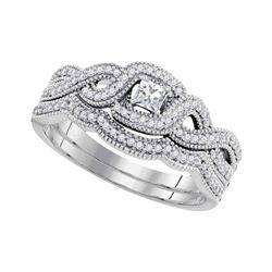 0.33 CTW Princess Diamond Woven Crossover Bridal Ring 10KT White Gold - REF-49K5W