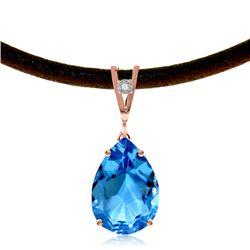 Genuine 6.01 ctw Blue Topaz & Diamond Necklace Jewelry 14KT Rose Gold - REF-32N3R