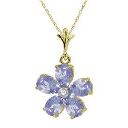 Genuine 2.22 ctw Tanzanite & Diamond Necklace Jewelry 14KT Yellow Gold - REF-43R2P