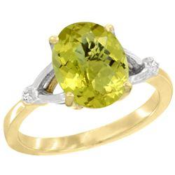 Natural 2.41 ctw Lemon-quartz & Diamond Engagement Ring 10K Yellow Gold - REF-23H8W