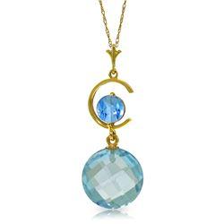 Genuine 5.8 ctw Blue Topaz Necklace Jewelry 14KT Yellow Gold - REF-25P9H