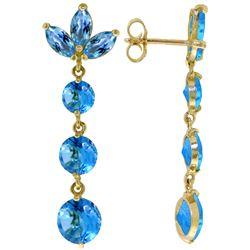 Genuine 8.7 ctw Blue Topaz Earrings Jewelry 14KT White Gold - REF-53R6P