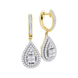 1.1 CTW Princess Diamond Teardrop Cluster Earrings 14KT Yellow Gold - REF-134N9F