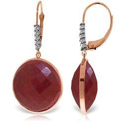 Genuine 46.15 ctw Ruby & Diamond Earrings Jewelry 14KT Rose Gold - REF-78M3T