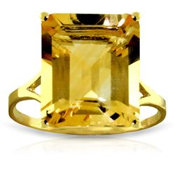 Genuine 6.5 ctw Citrine Ring Jewelry 14KT Yellow Gold - REF-43T8A