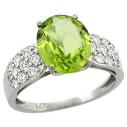 Natural 3.13 ctw peridot & Diamond Engagement Ring 14K White Gold - REF-62Z9Y