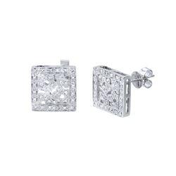 0.46 CTW Diamond Earrings 14K White Gold - REF-53H2M