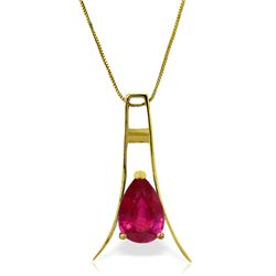 Genuine 1.50 ctw Ruby Necklace Jewelry 14KT Yellow Gold - REF-39M4T