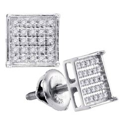 0.15 CTW Diamond Square Cluster Stud Earrings 14KT White Gold - REF-13K4W