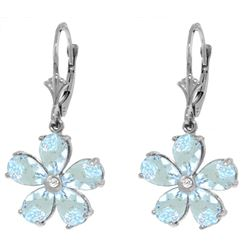 Genuine 4.43 ctw Aquamarine & Diamond Earrings Jewelry 14KT White Gold - REF-62A6K