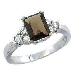 Natural 1.48 ctw smoky-topaz & Diamond Engagement Ring 10K White Gold - REF-43K3R