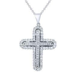 0.90 CTW Diamond Necklace 14K White Gold - REF-94R5K