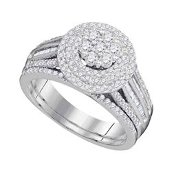 1 CTW Diamond Cluster Bridal Engagement Ring 10KT White Gold - REF-82W4K