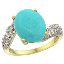 Natural 6.45 ctw turquoise & Diamond Engagement Ring 14K Yellow Gold - REF-72A3V