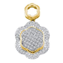 0.25 CTW Diamond Hexagon Cluster Pendant 10KT Yellow Gold - REF-24W2K