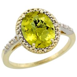 Natural 2.42 ctw Lemon-quartz & Diamond Engagement Ring 14K Yellow Gold - REF-33R8Z