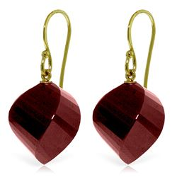 Genuine 30.5 ctw Ruby Earrings Jewelry 14KT Yellow Gold - REF-39M3T