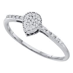 0.09 CTW Diamond Teardrop Slender Ring 10KT White Gold - REF-8M9H