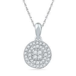 0.25 CTW Diamond Circle Cluster Pendant 10KT White Gold - REF-16M4H
