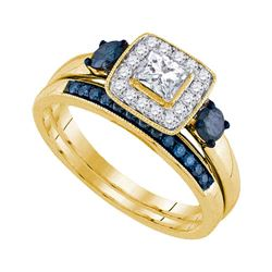 0.75 CTW Princess Diamond Bridal Engagement Ring 14k Yellow Gold - REF-89N9F