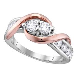 0.99 CTW Diamond 2-stone Hearts Together Bridal Ring 14KT White Gold - REF-119K9W