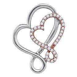 0.15 CTW Diamond Heart Love Pendant 10KT Two-tone Gold - REF-16W4K