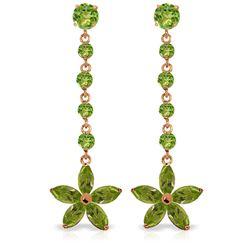 Genuine 4.8 ctw Peridot Earrings Jewelry 14KT Rose Gold - REF-56A8K