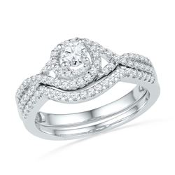 0.63 CTW Diamond Woven Bridal Wedding Engagement Ring 10KT White Gold - REF-57M2H