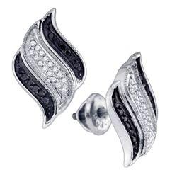 0.27 CTW Black Color Diamond Stud Unique Earrings 10KT White Gold - REF-24M2H