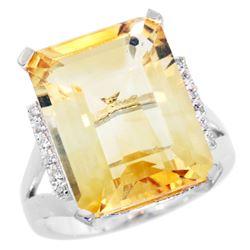 Natural 12.13 ctw Citrine & Diamond Engagement Ring 10K White Gold - REF-55H8W