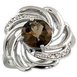 Natural 2.25 ctw smoky-topaz & Diamond Engagement Ring 14K White Gold - REF-57F8N