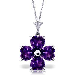 Genuine 3.8 ctw Amethyst Necklace Jewelry 14KT White Gold - REF-42P2H