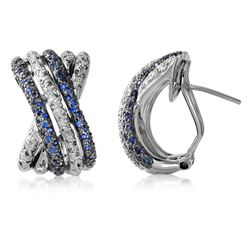 0.97 CTW Sapphire & Diamond Earrings 14K White Gold - REF-90K5W