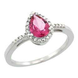 Natural 1.53 ctw pink-topaz & Diamond Engagement Ring 14K White Gold - REF-25M5H